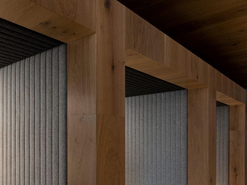 close up timber joinery detail in office